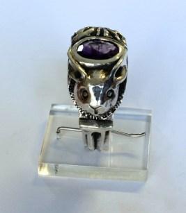 Man/Rabbit Ring: silver, amethyst