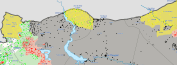 Sarin still surrounded. Kobanî Kurds advance East. Note also advances further east.