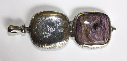 Pendant locket: silver, charoite (open)