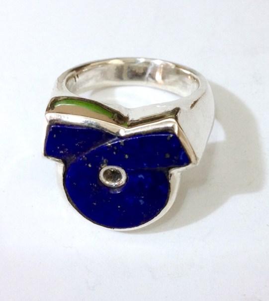 Ring with Lapis Lazuli Loop: silver, lapis lazuli