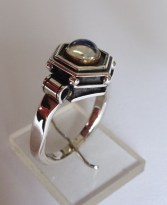 Ring: silver, gold, moonstone