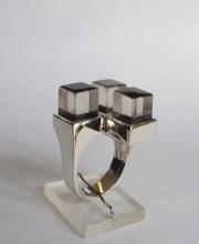 Ring: silver, quartz, jet, lapis lazuli, mother of pearl