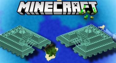 Two Temples! Fortunately Sea + Amazing Islands (MCPE Seed)