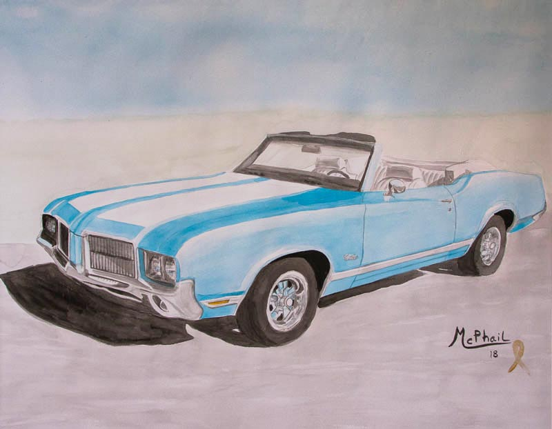 1971 Oldsmobile Cutlass 442 watercolor painting
