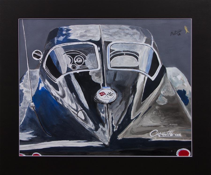 1963 Corvette Split Window Coupe acrylic painting on mixed media paper