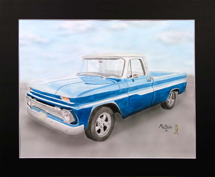 1965 Blue Chevy Pickup painting by Jeff McPhail