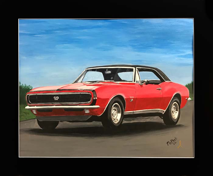 1967 Red Camaro SS painting by Jeff McPhail