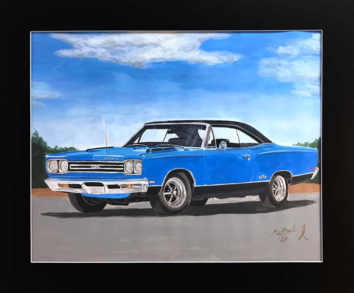 Blue Plymouth GTX painting by Jeff McPhail