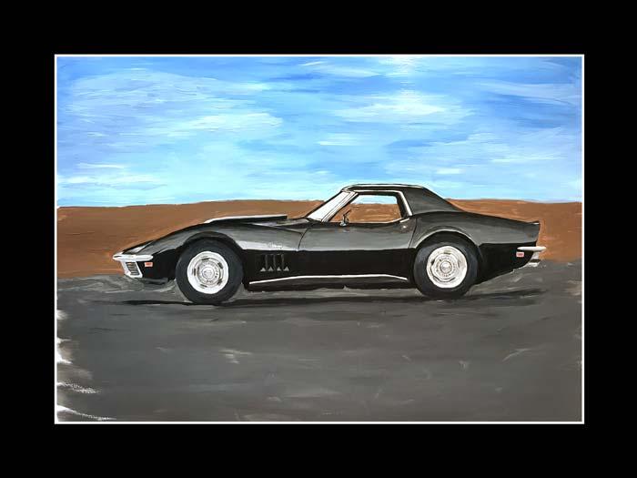 1968 Black Corvette L88 painting by Jeff McPhail