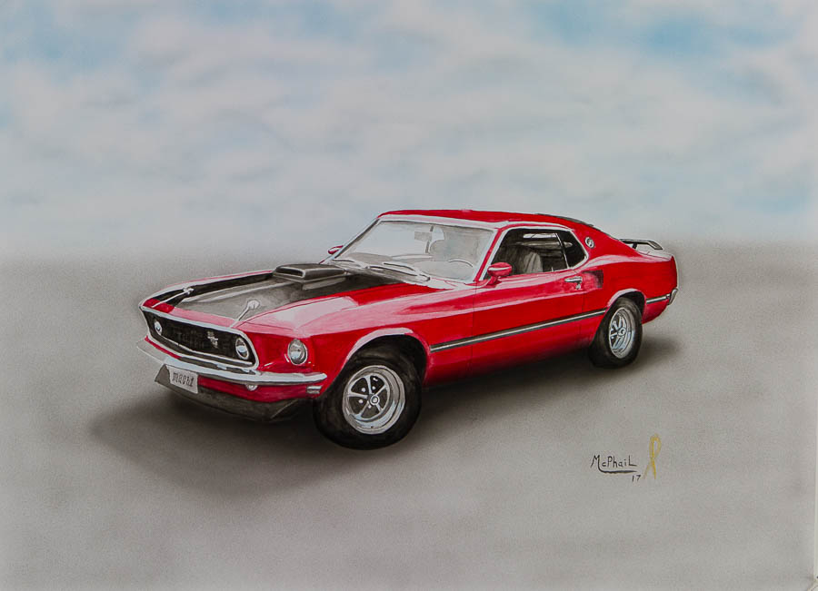 1969 Ford Mustang Watercolor