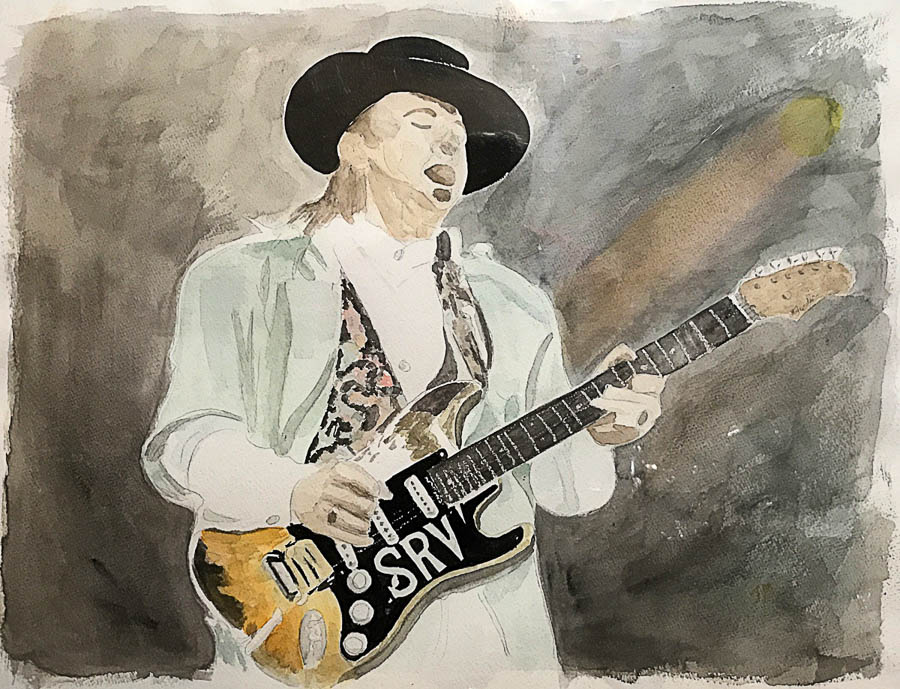 Stevie Ray Vaughn watercolor on paper