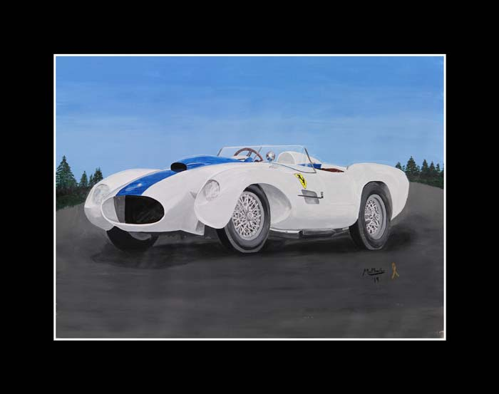 1954 Ferrari 250, white with blue strip, painting by Jeff McPhail