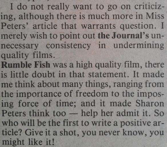 My letter to the editor