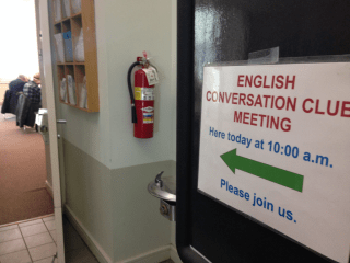 English conversation club meeting room