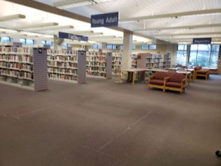 Empty spot where the wire book racks used to be