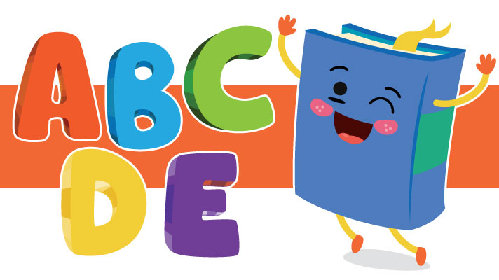 The letters ABCDE in red, blue, green, yellow and purple respectively, pictured alongside an illustrated dancing blue hardcover book.