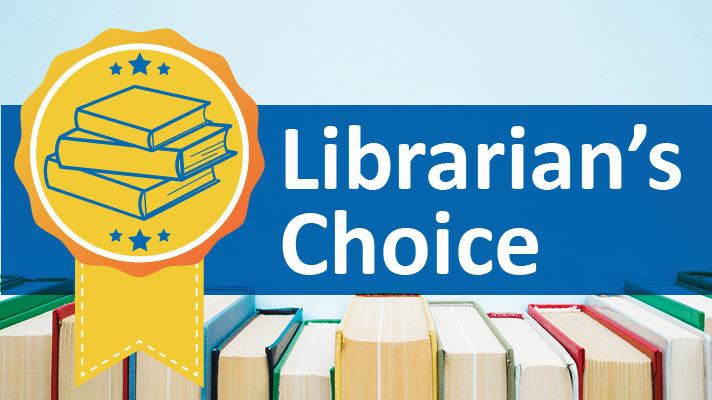"Librarian's Choice yellow ribbon illustration featuring a stack of books, overlaid on a blue background with ""Librarian's Choice"" in white text, and a row of books at the bottom."