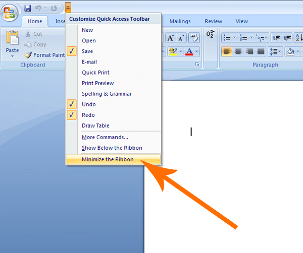Minimize the ribbon in Word 2007 & 2010