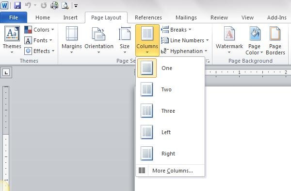 Columns Options in Word 2010