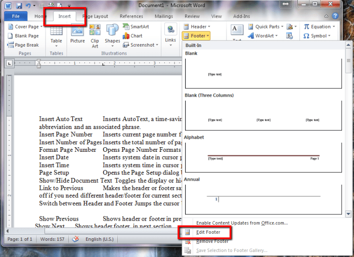 Footer Options in Word 2010