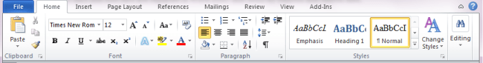 MS Word Ribbon and Tabs