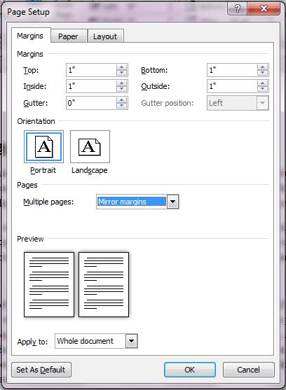 Mirror Margins in Page Setup Dialog Box