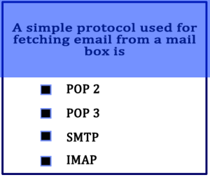 A simple protocol used for fetching email from a mail box is