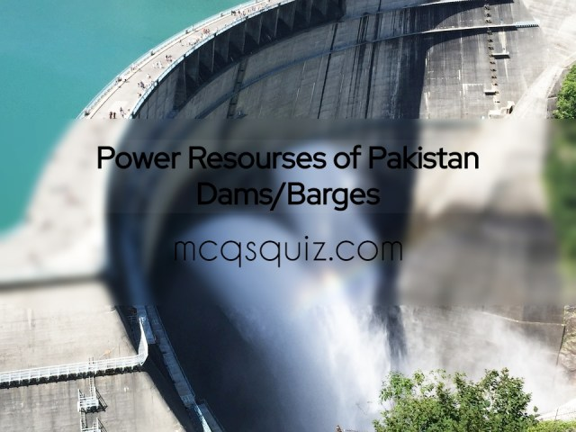 Power Resources of Pakistan Mcqs