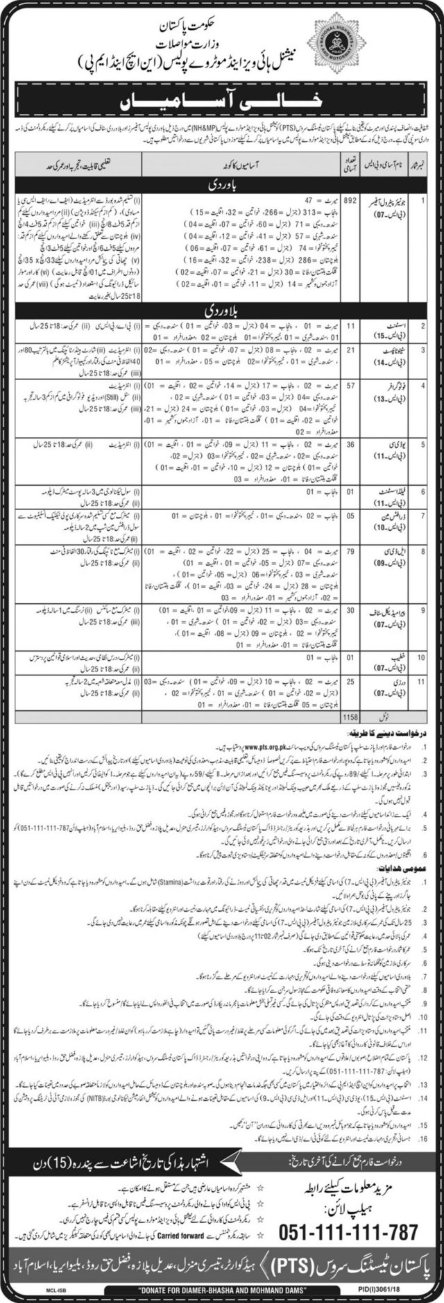 National Highway And Motorway Police (NH&MP) Jobs 2020