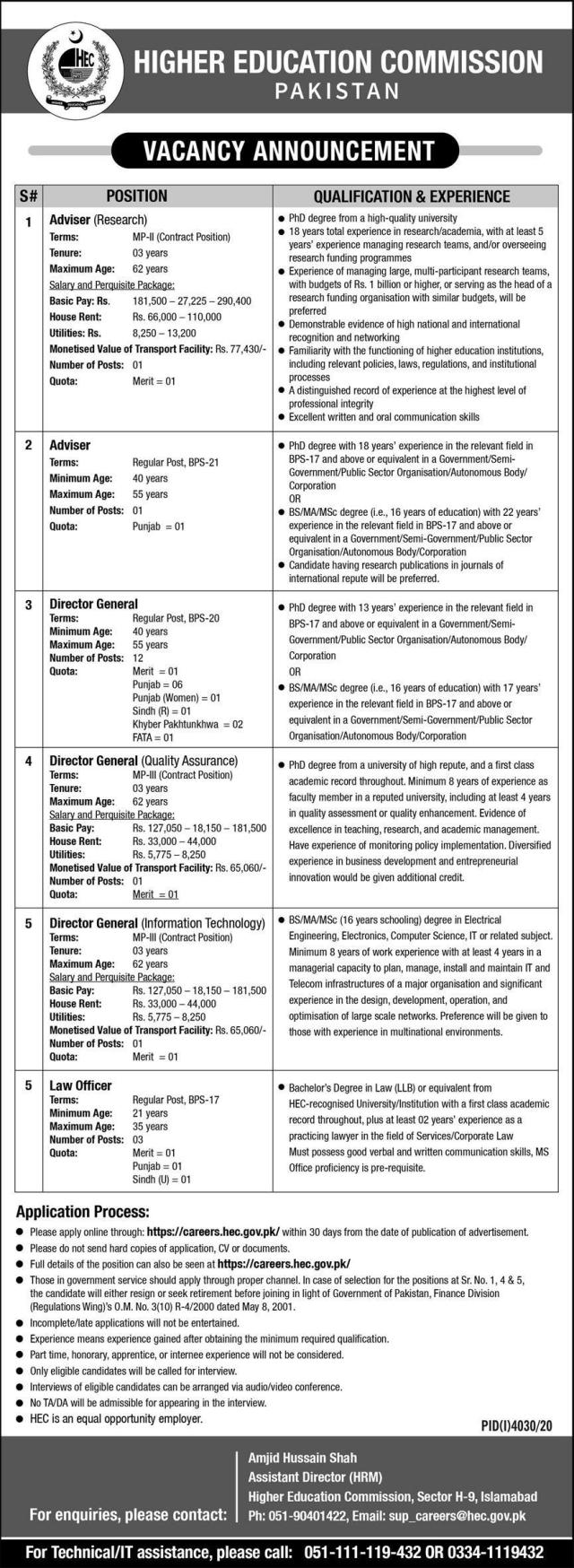 Higher Education Commission (HEC) Jobs 2021 (31-01-2021)