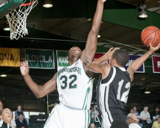 Rhamel Brown, who led the MAAC in blocks last season, has found a way to block out all the negative temptations in his life. Photo courtesy of gojaspers.com