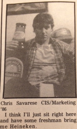 There was a time when the Juniors could send out the freshmen to get them a six pack of beer. Courtesy of the archives.