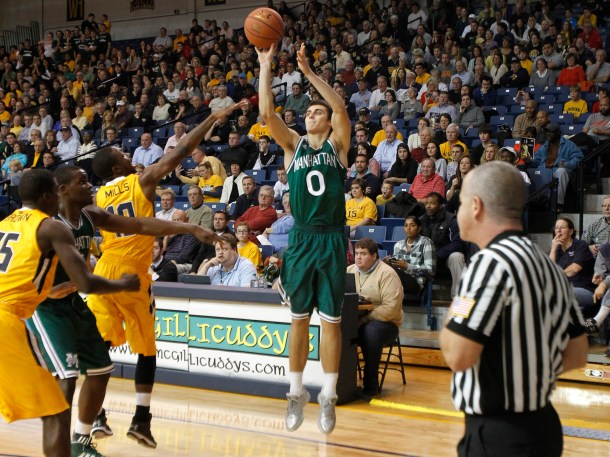 In just 61 games, Shane Richards is tied with Charles Dubra who is fifth all-time in Manhattan history in 3-pointers made. Richards has 136. Photo courtesy of gojaspers.com.