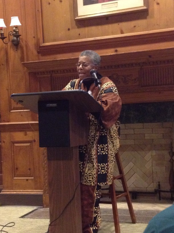 Above, Katie Cannon lectures on racial and sexual inequalities in the south in the 1950s. Photo by Sean Sonneman.