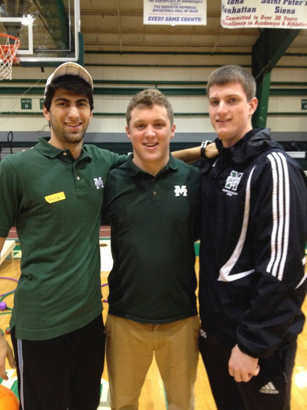 Volunteers Vincent Bucciogrossi, a senior kinesiology major, Richard Meany, senior finance and business analytics major, and Chris Lands, senior exercise science major (from left to right). Photo by Pam Segura