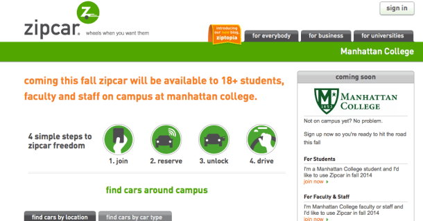 A screenshot of the online signup page for Zipcars at Manhattan College.