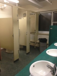 One of the bathrooms in Jasper Hall, the site of new ID Scanners. Photo by Kevin Fuhrmann