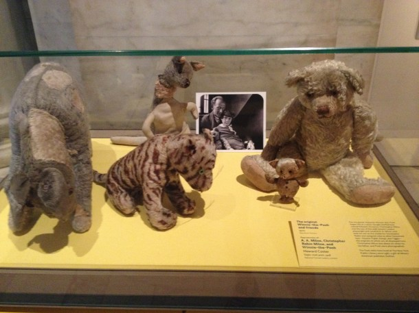 The original stuffed toys of Winnie the Pooh, Piglet, Eeyore, Mr. Rabbit and Tigger are shown in the ABC exhibit. Photo by Madeleine Schwartz.