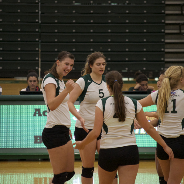 The volleyball team is on a five game winning streak after their win over Iona. Photo by Kevin Fuhrmann.