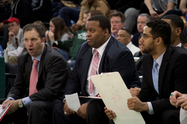 Davis (center) has used his ace recruiting methods to help land numerous recruits to Manhattan College. Photo taken by Kevin Fuhrmann.