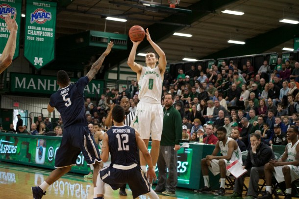Shane Richards connected on three of Manhattan's season-high 11 3-pointers. Photo by Kevin Fuhrmann