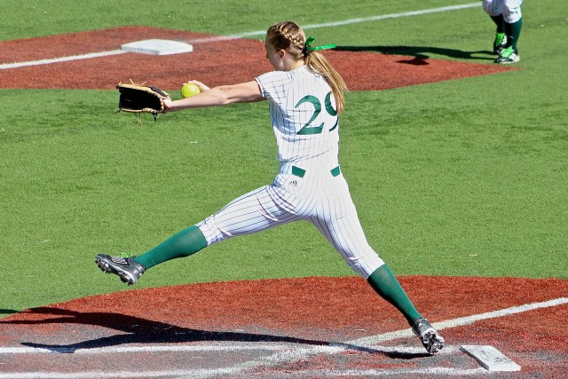 Amy Bright tossed a complete game shutout in the first game of the doubleheader against Monmouth. Photo by Kevin Fuhrmann.