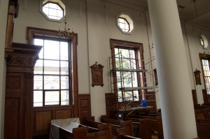 The Chapel De La Salle has temporary thermal windows until the new ones are installed. Photo by Kevin Fuhrmann.