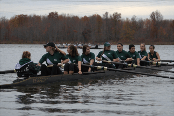 The women's rowing team has had to make the transition from a club to a Division 1 program. Lorraine Piccorelli/Courtesy