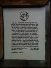 Sign on San Jacinto Cabin
