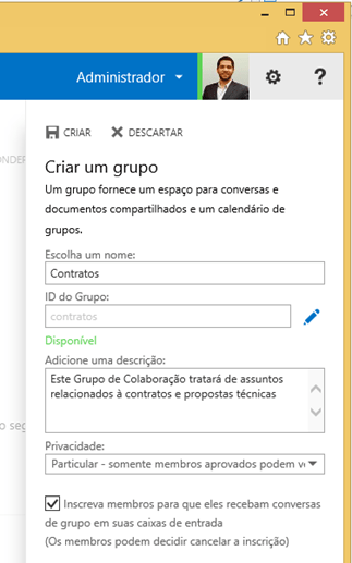 Finalização da criação do Grupo de Colaboração