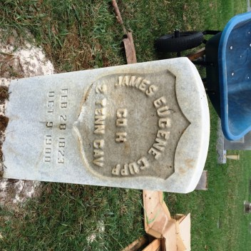 Cupp stone set at grave site