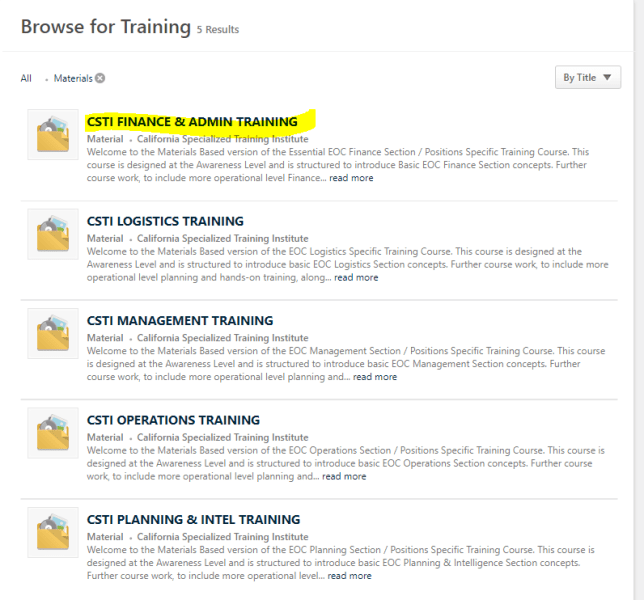 Browse for training filtered selections highlighted. CSTI Finance and Admin training highlighted.
