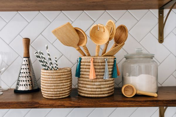 Macy White Home Collection Wooden Spoons and Sutton Storage Baskets