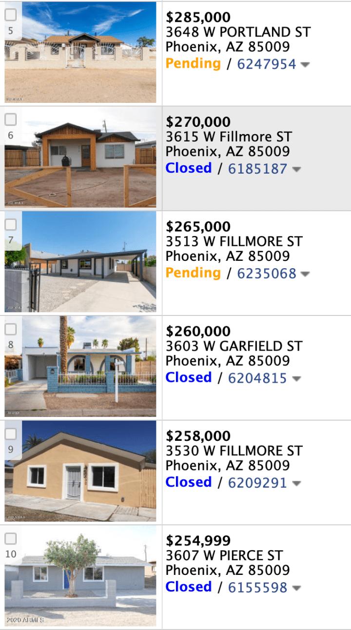 3637 W Melvin St, Phoenix AZ 95009 full comps list